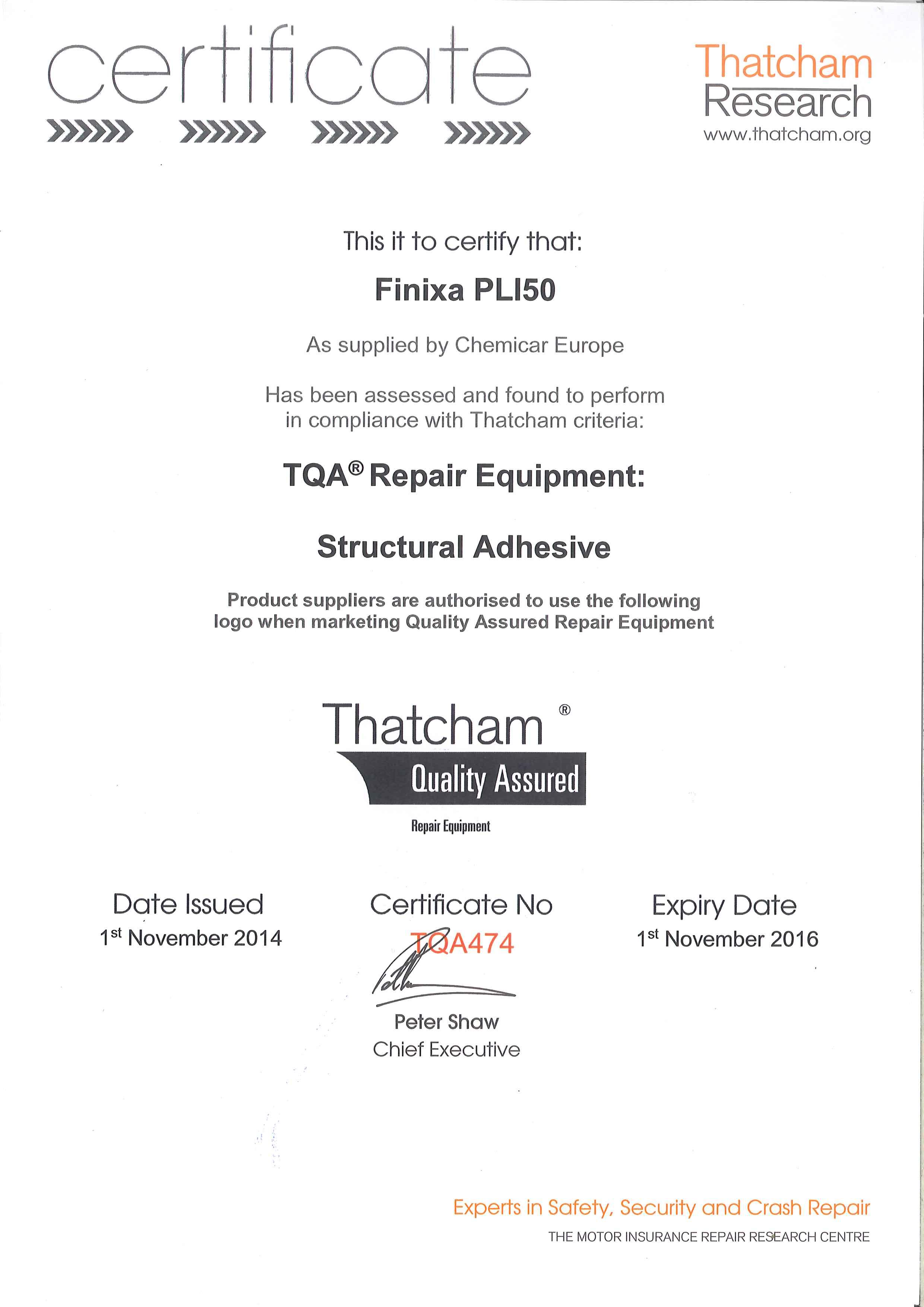 Finixa PLI 50 metal bond is Thatcham zertifiziert