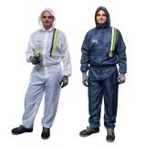 Polyester Lackieroverall weiß / Polyester Lackieroverall blau-grau